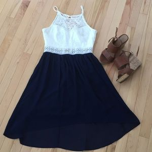 By & By navy and white crochet top party dress